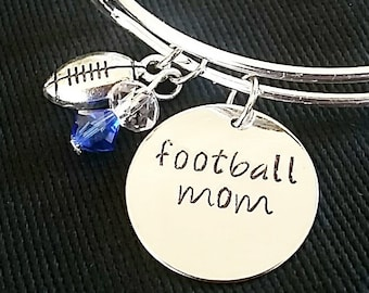 Expandable Charm Bangle Bracelet with Football Mom and Football Charms*Hand Stamped**Charm Bracelet**Bangle Bracelet**Football Mom*
