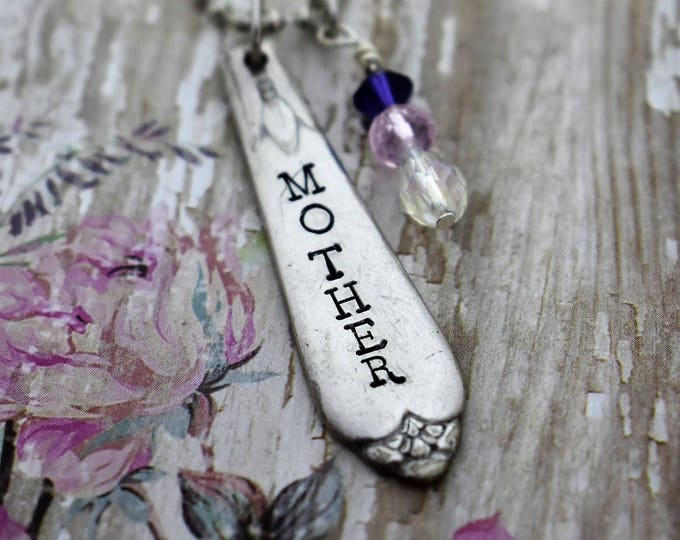 Hand Stamped Vintage Spoon Pendant Necklace-Mother-Mother's Day Gift-Gift For Her-Mom Necklace
