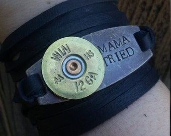 Mama Tried Hand Stamped on Brass with Winchester 12 Gauge Bullet Slice - Leather Wrap Bracelet *Merle Haggard*Country Music*Country Girl*