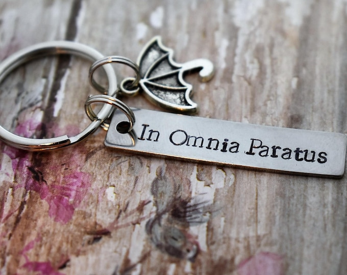 In Omnia Paratus Hand Stamped Keychain with Umbrella Charm *Gilmore Girls*Ready for Anything*Life and Death Brigade*