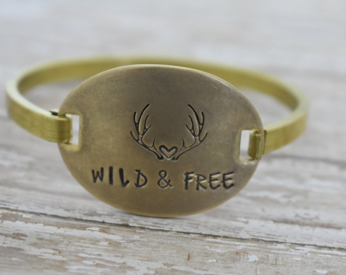 Wild and Free - Hand Stamped - Swing Top Bracelet - Antler Bracelet - Boho Bracelet - Bangle Bracelet- Gift for Her