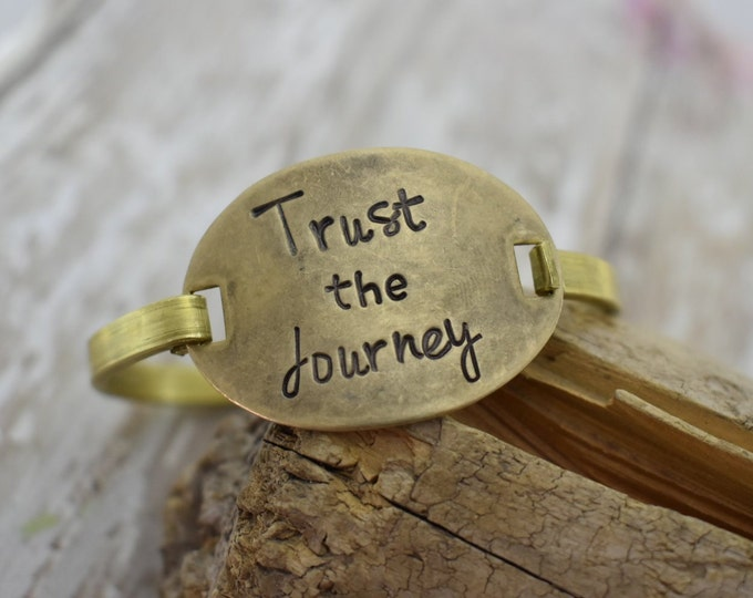Trust The Journey - Hand Stamped - Swing Top Bracelet - Inspirational - Gift for Her - Hand Stamped Bracelet