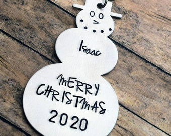 Hand Stamped Snowman Christmas Ornament - Personalized Ornament - Christmas Ornament - Christmas Gift - Handmade Ornament - Snowman Ornament