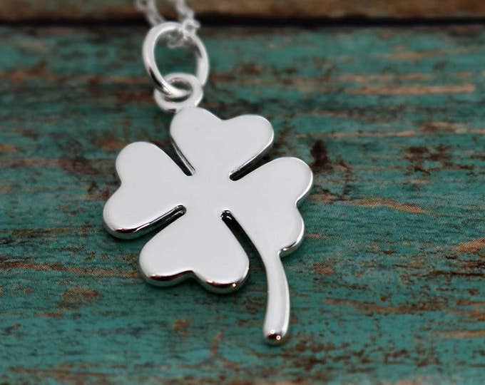 Shamrock Necklace - Four Leaf Clover Necklace- Sterling Silver - Irish - St. Patrick's Day - Gift- Lucky Charm - Clover Necklace