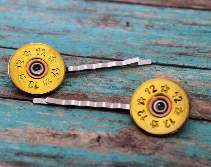 Shotgun Shell Hair Pins - 12 Gauge Hair Pins - Bullet Hair Pin - Ammo Hair Pin - Bullet Slice - Hair Accessory - Country Girl