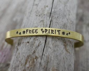 Free Spirit Hand Stamped Cuff Bracelet - Boho Bracelet - Boho Jewelry - Gypsy Soul - Be Free