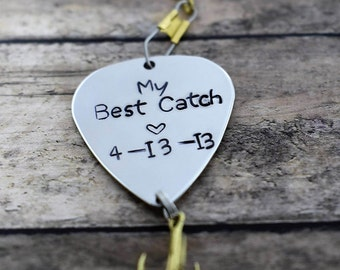 "Handmade Stamped Fishing Lure - ""My Best Catch"" *Fisherman*Personalized Lure**Valentine's Gift**Gift for Him*Anniversary Gift**Father's Day*"