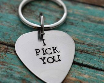 I Pick You Hand Stamped Aluminum Guitar Pick Keychain*Anniversary Gift*Valentine's Gift*Gift for Dad*Gift for Him*Musician*Music Gift*Guitar