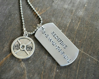 Redefine Beautiful Hand Stamped Dog Tag Necklace with Weight Plate Charm *Workout Jewelry**Exercise Jewelry*Fitness Jewelry*Weightlifting*