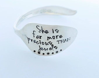 Hand Stamped Vintage Silver Plated Spoon Bracelet Bangle - She Is Far More Precious Than Jewels - Mother's Day - Gift for Wife -Gift for Her