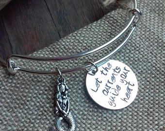 "Hand Stamped ""Let The Currents Guide Your Heart"" w/ Mermaid Charm on Expandable Charm Bracelet*Hand Stamped*Charm Bracelet*Ocean Lover"