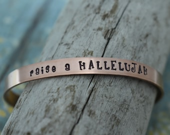 Raise a Hallelujah Hand Stamped Cuff Bracelet *Christian Jewelry*Faith*Christian Bracelet*Inspirational Jewelry*
