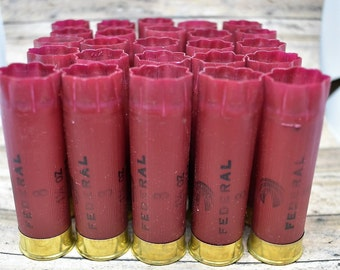 Shotgun Shells Lot of 25 - Dark Red/Burgundy/Brass Federal 12 gauge Empty Shotgun Shells