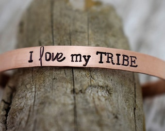 I Love My Tribe Hand Stamped Cuff Bracelet *Mother's Gift*Mother's Day*Gift for Mom*