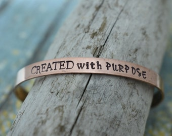 Created With Purpose Hand Stamped Cuff Bracelet *Christian Jewelry*Faith*Christian Bracelet*Inspirational Jewelry*