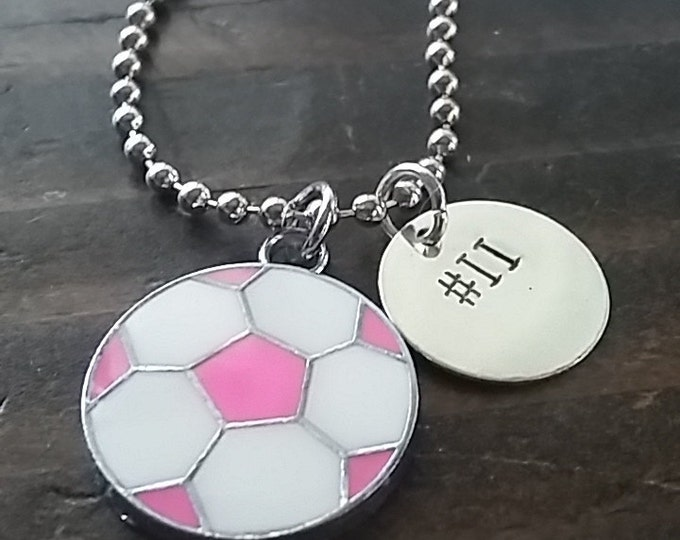 Soccer Charm Personalized Hand Stamped Necklace *Girl's Soccer**Sports Necklace**Team Necklace**