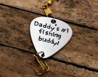 "Handmade Stamped Fishing Lure - ""Daddy's #1 Fishing Buddy"" - Father's Day*Fisherman*Personalized Lure*Father - Son Gift"""