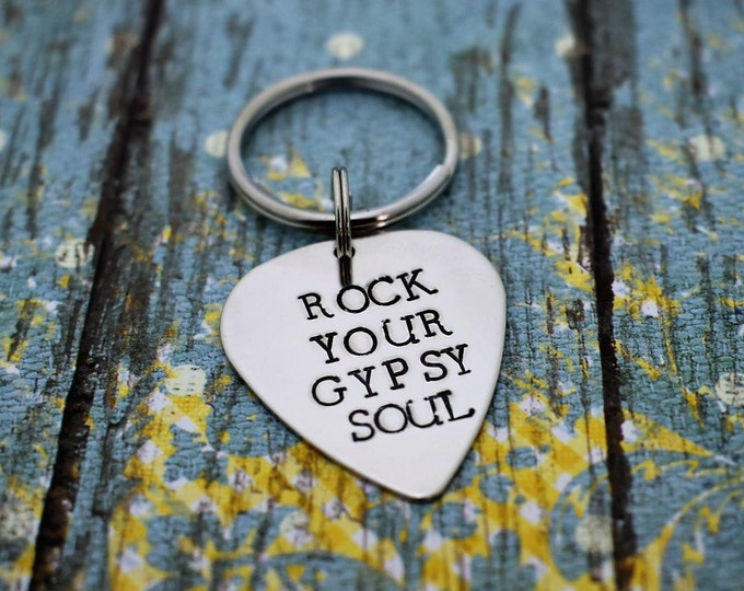 Featured listing image: Rock Your Gypsy Soul *Hand Stamped* Guitar Pick Keychain- Van Morrison Lyric *Music Lover*Guitar Player*