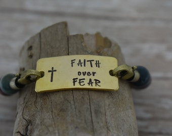 Faith Over Fear Hand Stamped Beaded Elastic Bracelet - Inspirational Jewelry - Christian Jewelry - Gift for Her