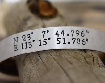 Custom Coordinates Bracelet on Hand Stamped Metal Cuff Bracelet *Personalized Jewelry*Latitude Longitude Bracelet*Bridesmaid Gift*