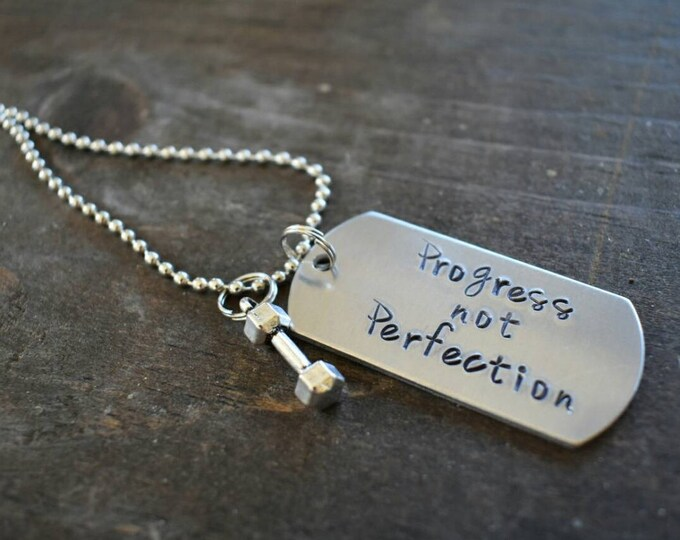 Hand Stamped Dog Tag Progess Not Perfection with Dumbbell Charm *Fitness**Workout Inspiration**Fitness Coach*