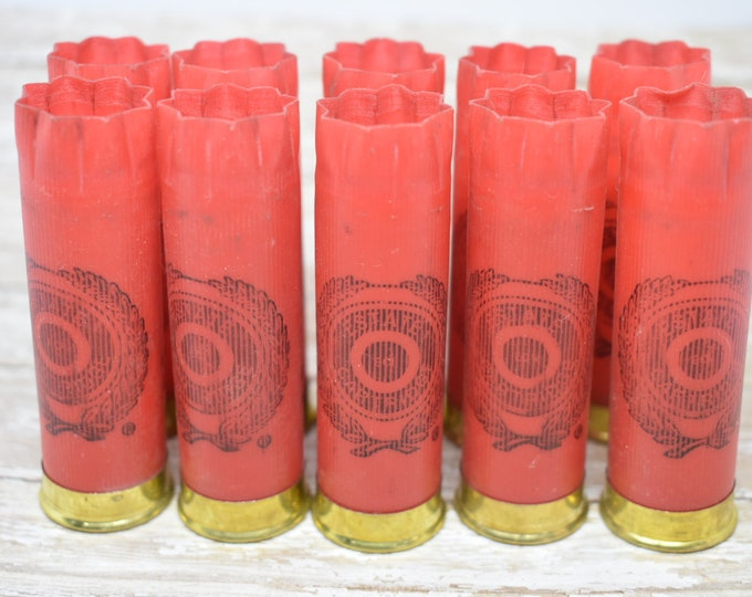 Shotgun Shells Lot of 10 - Red/Gold Estate 12 gauge Empty Shotgun Shells
