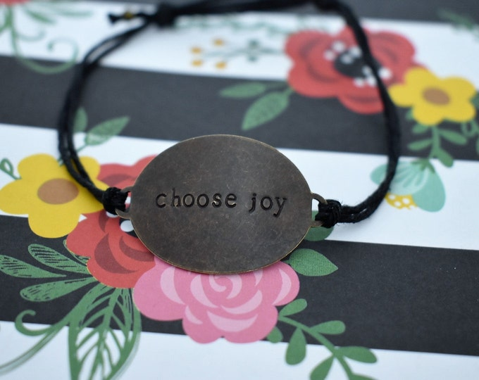 """Hand Stamped Brass """"choose joy"""" on Hemp Cord Bracelet *Gift for Her*Inspirational Jewelry*Daily Mantra*"""
