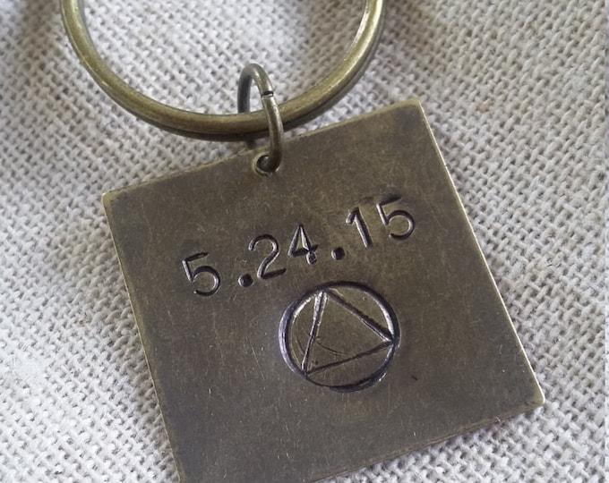 Sobriety Keychain Hand Stamped - AA Symbol  - Sobriety Anniversary Date - Personalized Keychain - Sobriety Jewelry