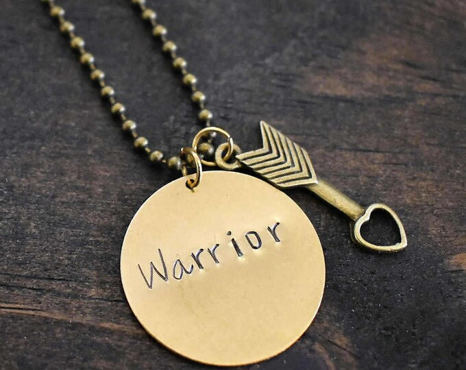 """Hand Stamped """"Warrior"""" Necklace with Arrow Charm *Hand Stamped Jewelry*Arrow Necklace*Gift for Her*"""