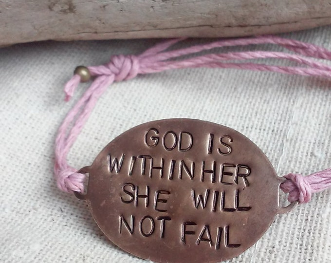 """Hand Stamped Brass """"God Is Within Her She Will Not Fail"""" on adjustable Hemp cord bracelet"""
