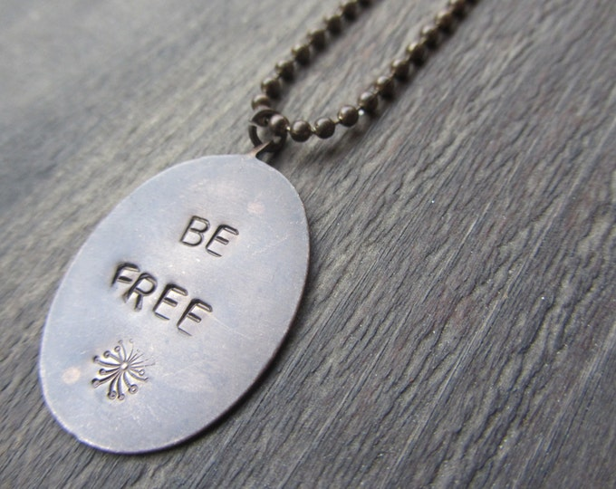 Be Free with Dandelion *Hand Stamped Brass Jewelry* on Brass Ball Chain