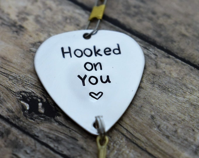 "Handmade Stamped Fishing Lure - ""Hooked on You (heart)"" - *Valentine's Day*Anniversary*Fisherman*Personalized Lure*Father's Day Gift"