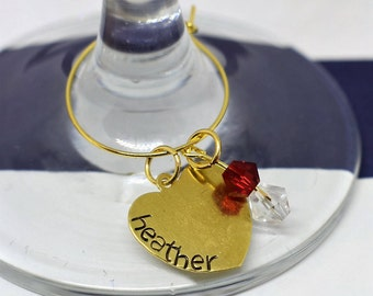 Hand Stamped Personalized Wine Glass Charm *Party Decor*Party Favor*Bridal Party*Wine Charm Keepsake*