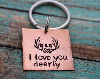I Love You Deerly Hand Stamped Personalized Antler Keychain - Initials - Deer Antlers - Hunting - Hunter Gift - Deer Hunting