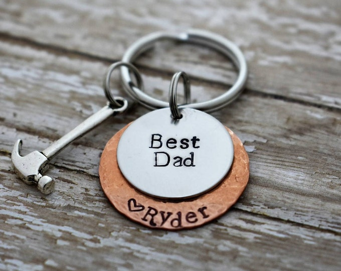 Best Dad Hand Stamped Personalized Keychain With Hammer Charm *Father's Day*Gift for Dad*Handy Man*Personalized Gift*