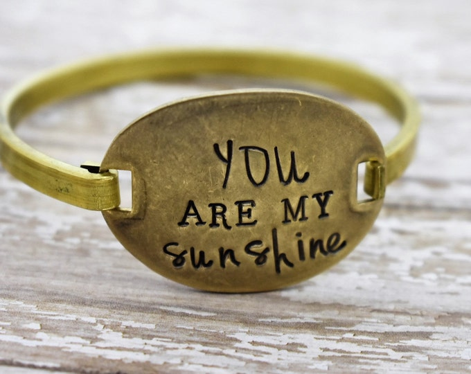 You Are My Sunshine - Hand Stamped - Swing Top Bracelet - Mother/Daughter Bracelet - Bangle Bracelet- Gift for Her
