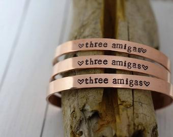 "Three Amigas Cuff Bracelet - Set of Three"" *Personalized Bracelet*Best Friends*BFF*BFF Jewelry*Best Friend Bracelet*Gift For Her*"