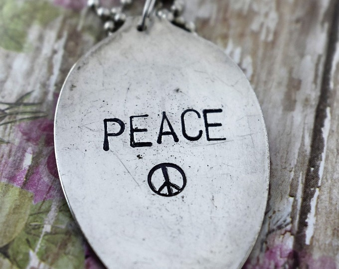 Peace - Hand Stamped Spoon Necklace - Free Spirit - Upcycled Spoon - Gift for Her - Unique Gift - Peace Sign
