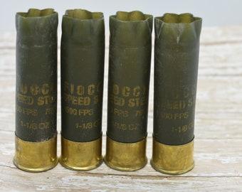 Shotgun Shells Lot of 4 - Army Green/Brass Fiocchi 12 gauge Empty Shotgun Shells