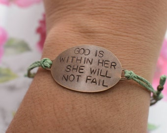 "Hand Stamped Brass ""God Is Within Her She Will Not Fail"" on adjustable Hemp cord bracelet"