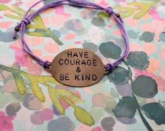 "Hand Stamped Brass Bracelet ""Have Courage & Be Kind"" on Hemp cord. Inspired by Cinderella"