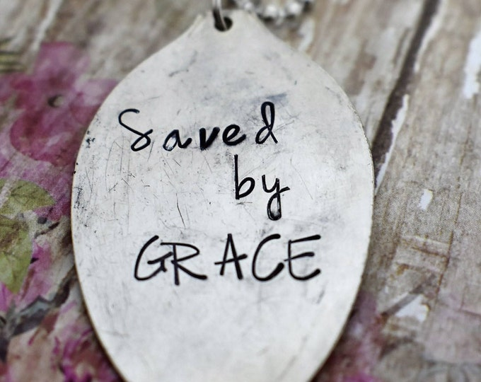 """Hand Stamped Spoon Necklace """"Saved by Grace"""" *Upcycled Spoon**Gift For Her*Christian Jewelry*Religious Necklace*Bible Verse*Ephesians"""