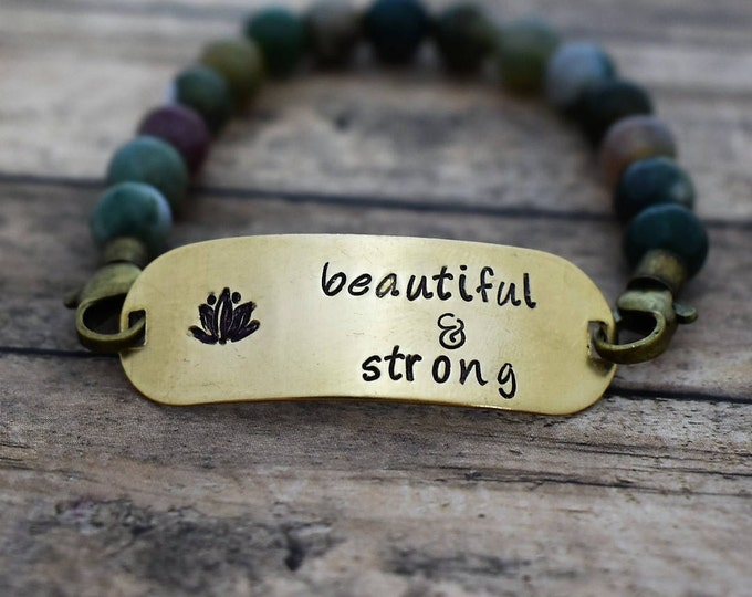 "Beaded Bracelet with Hand Stamped Lotus ""Beautiful & Strong"" *Gift for Her*Lotus*Namaste*"