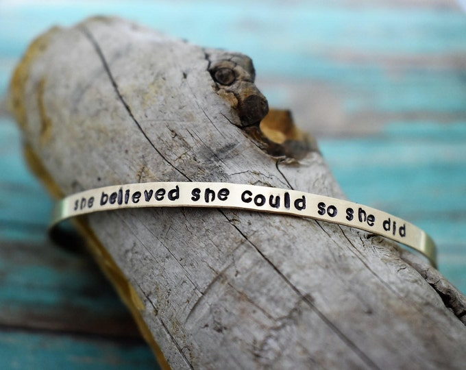 She Believed She Could So She Did - Skinny Hand Stamped Gold Filled Bracelet-Inspirational Gift-Personalized Gift-Gift for Her