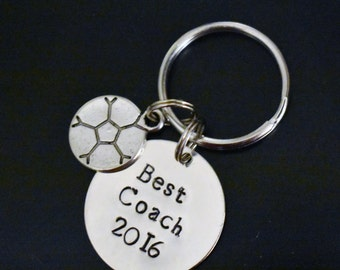 "Hand Stamped ""Best Coach w/ Year"" and Sports Charm Keychain *Coach's Gift*Soccer Coach*Baseball Coach*Cheerleading Coach*Football Coach**"