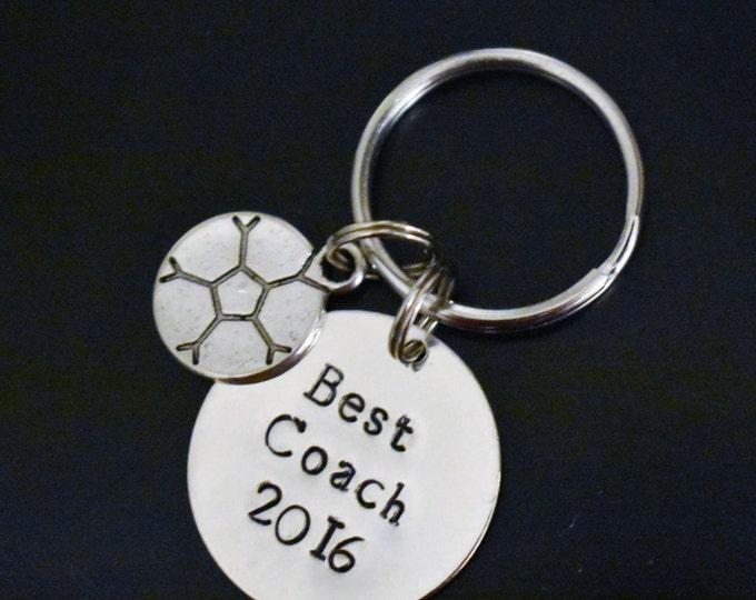 "Hand Stamped ""Best Coach w/ Year"" and Sports Charm Keychain *Coach's Gift*Soccer Coach*Baseball Coach*Cheerleading Coach*Football Coach**"