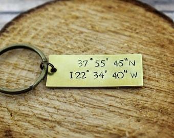 Custom Coordinates Keychain *Latitude and Longitude Keychain* *Custom Keychain* *Hand Stamped Keychain*Valentine's Gift*