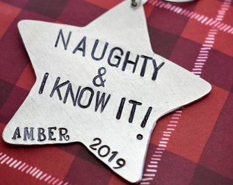 Naughty and I know It Personalized Star Ornament - Christmas Ornament - Personalized Ornament - Star Ornament - Handmade Ornament