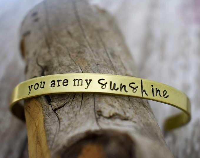 You Are My Sunshine Hand Stamped Cuff Bracelet* Mother/Daughter Gift*Mother's Day*Mother Daughter Jewelry*