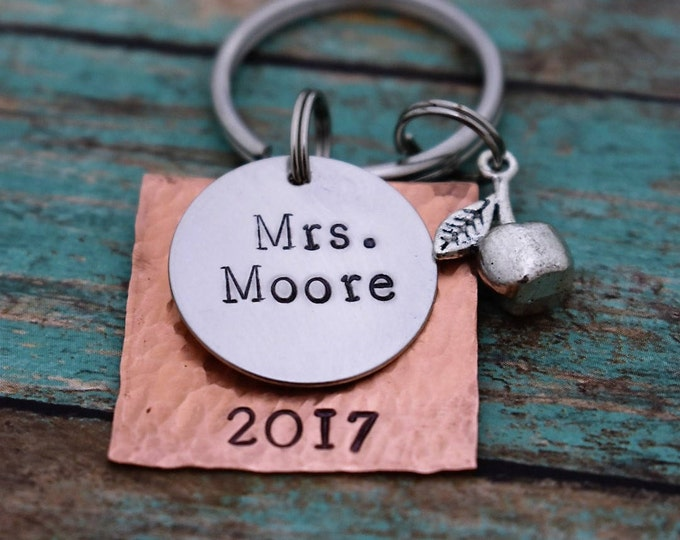 Hand Stamped Teacher's Gift -Personalized Teacher's Gift-Apple Charm-Teacher Appreciation-Teacher Keychain